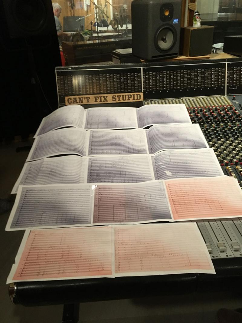 Sheet music on mixing console